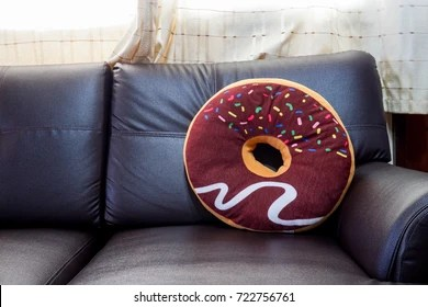 https www shutterstock com image photo donut pillow on brown sofa 722756761