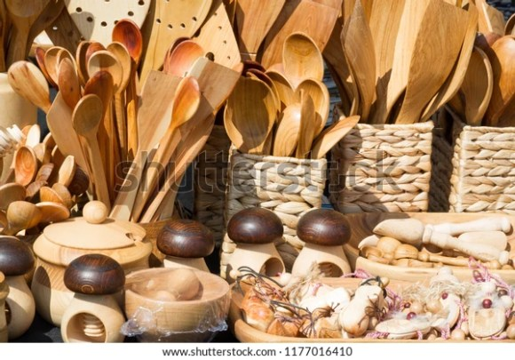 Flea Market Wooden Products Folk Art Stock Photo (Edit Now) 1177016410