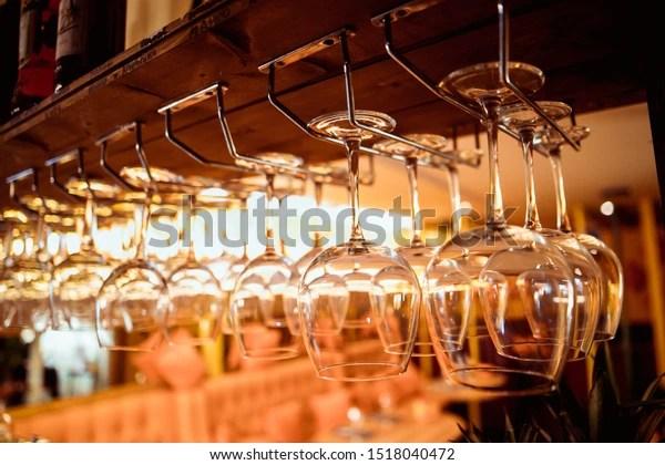 https www shutterstock com image photo glasses wine hanging above bar restaurant 1518040472