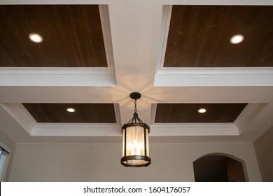 https www shutterstock com image photo hanging pendant light interior design coffered 1604176057