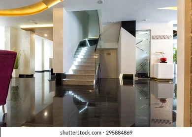 Lobby Stairs Images Stock Photos Vectors Shutterstock   Stairs Design In Lobby   Entrance Lobby   Foyer   Architectural   Circle Elevator Design Home   White