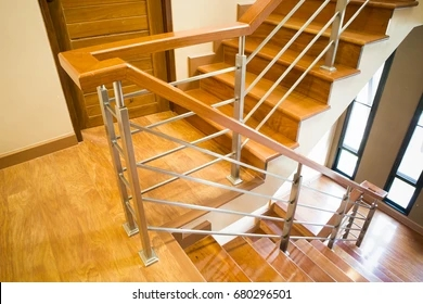 Wood Handrail Images Stock Photos Vectors Shutterstock | Wood And Metal Handrail | Interior | Iron Railing | Architectural Modern Wood Stair | Stainless Steel | Traditional