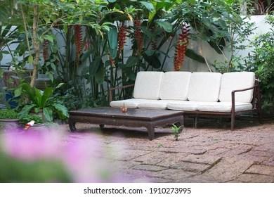 https www shutterstock com image photo long bench garden 1910273995