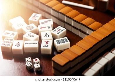 https www shutterstock com image photo many old mahjong tiles on wooden 1110340649