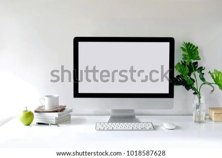 Mockup Desktop Blank Screen Modern Computer Stock Photo Edit Now