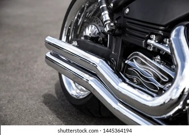 https www shutterstock com image photo motorcycle exhaust pipe chrome shiny clean 1445364194