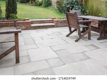 https www shutterstock com image photo new flagstone patio backyard outdoor garden 1714019749