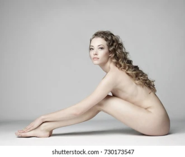 Nude Sexy Beautiful Woman With Long Stylish Hairstyle Pose On White Background In Photostudio Erotic