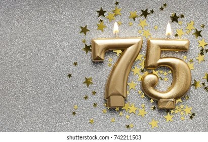 https www shutterstock com image photo number 75 gold celebration candle on 742211503