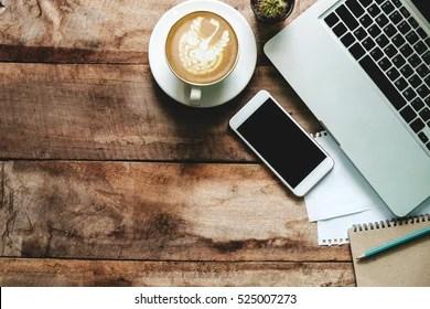 https www shutterstock com image photo office stuff smart phone laptop coffee 525007273