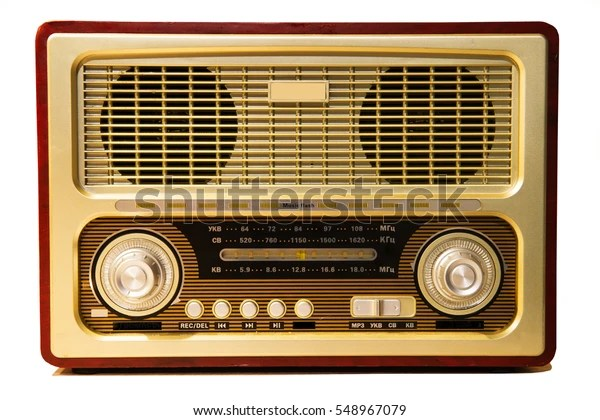 https www shutterstock com fr image photo old radio isolated on white background 548967079