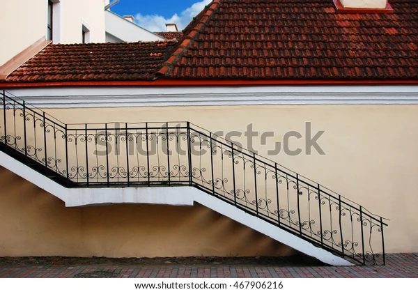 Outdoor Stairs Second Floor Old Building Stock Photo Edit Now | Outdoor Stairs To Second Floor | Rooftop Deck | Inside | Porch | Wide | Second Level