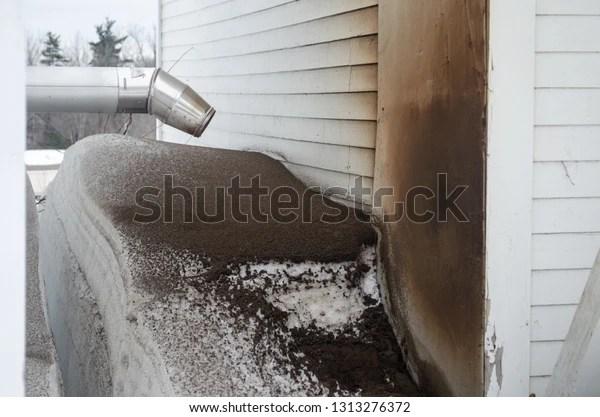 https www shutterstock com image photo pellet stove exhaust pipe soot brown 1313276372