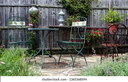 https www shutterstock com image photo plants vintage table chairs on garden 1365368594