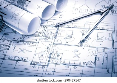 House Blueprint Images  Stock Photos   Vectors   Shutterstock rolls of architecture blueprints and house plans on the table and drawing  compass