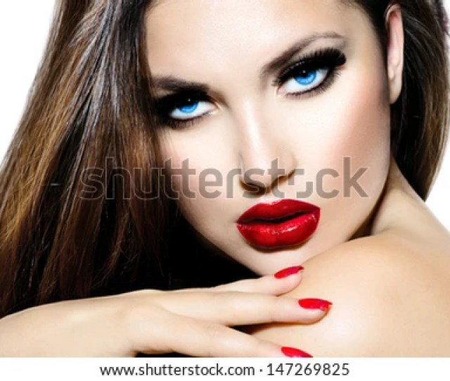 Sexy Beauty Girl With Red Lips And Nails Provocative Make Up Luxury Woman With