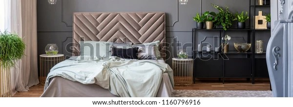 https www shutterstock com image photo sheets on bed bedhead grey gold 1160796916