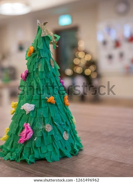 Small Christmas Tree On Table Xmas Stock Photo Edit Now 1261496962