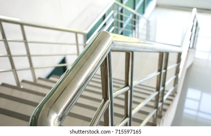 Stainless Steel Handrail Images Stock Photos Vectors Shutterstock   Ss Handrails For Stairs   Building   Glass   Horizontal   Flat Steel   Mild Steel Handrail
