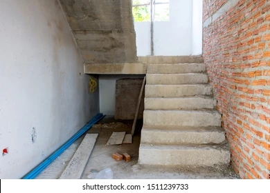 Unfinished Staircase Images Stock Photos Vectors Shutterstock | Concrete Ladder Design For Home | Low Budget | Beautiful | Construction | Small Space | Simple