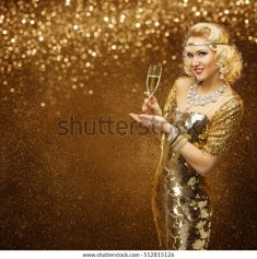Vip Woman with Champagne Glass Celebrating Holiday Party, Retro Lady in Rich Gold Dress, Sparkling Diamonds Necklace