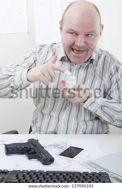 Weird Businessman Cocaine Gun Office Worker Stock Photo (Edit Now ...