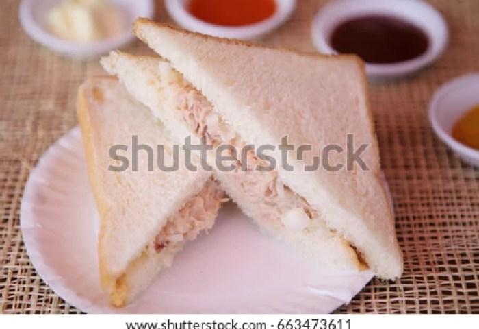 White Bread Tuna Sandwich On White Stock Photo Edit Now 663473611