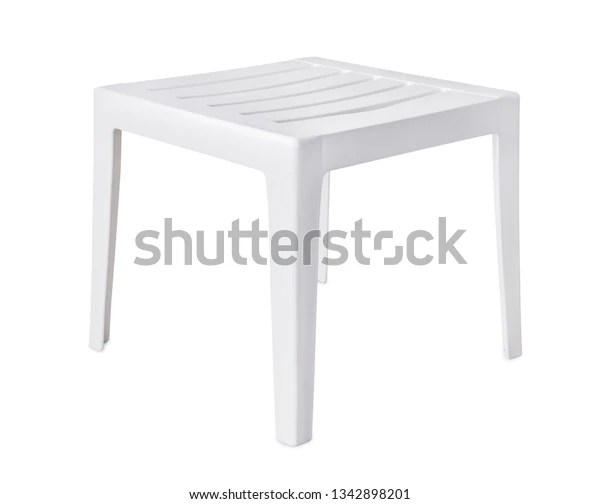 https www shutterstock com image photo white plastic patio side table isolated 1342898201