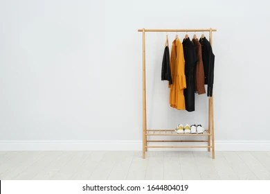 https www shutterstock com image photo wooden rack stylish clothes room space 1644804019