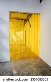 https www shutterstock com image photo yellow plastic transparent pvc strip curtain 1357085885
