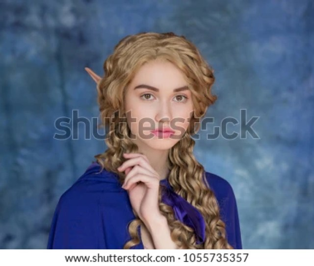 Young Beautiful Elf Woman Silicone Overhead Ears Makeup In The Movie On A