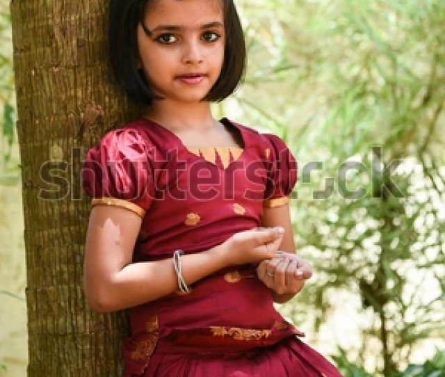 Young Indian Girl Wearing Traditional Dress For Onam Vishu Kerala India Asian Child