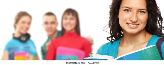 Young Teenage Girl Holding Books Isolated On A White Background