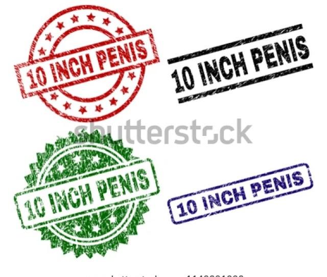 Inch Penis Seal Prints With Distress Texture Black Greenredblue