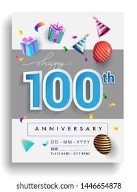 https www shutterstock com image vector 100th years anniversary invitation design gift 1446654878