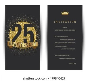 https www shutterstock com image vector 25th anniversary decorated greeting card template 499840429