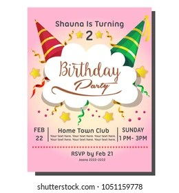 https www shutterstock com image vector 2nd birthday party invitation card hat 1051159778