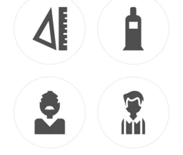 Rulers Teacher Paint Tube Student Modern Icons On Round Shapes Vector