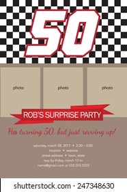 https www shutterstock com image vector 50th birthday party photo template racing 247348630