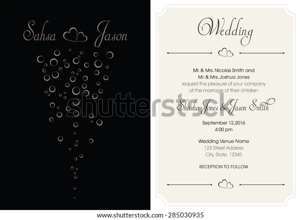 Our selection of invites features designs for bridal showers, baby showers, graduation invitations & 5x7 Wedding Invitation Template Vector Format Stock Vector Royalty Free 285030935