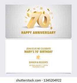 https www shutterstock com image vector 70 years anniversary invitation card vector 1345204922
