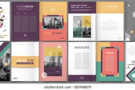 Business Plan Cover Template A4 Images  Stock Photos   Vectors     Patch a4 brochure cover design  Square info banner frame  Ad