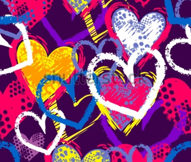 Abstract Seamless Hearts Pattern Drawing In Graffiti Style With Shabby Shape Textured Track Chalk