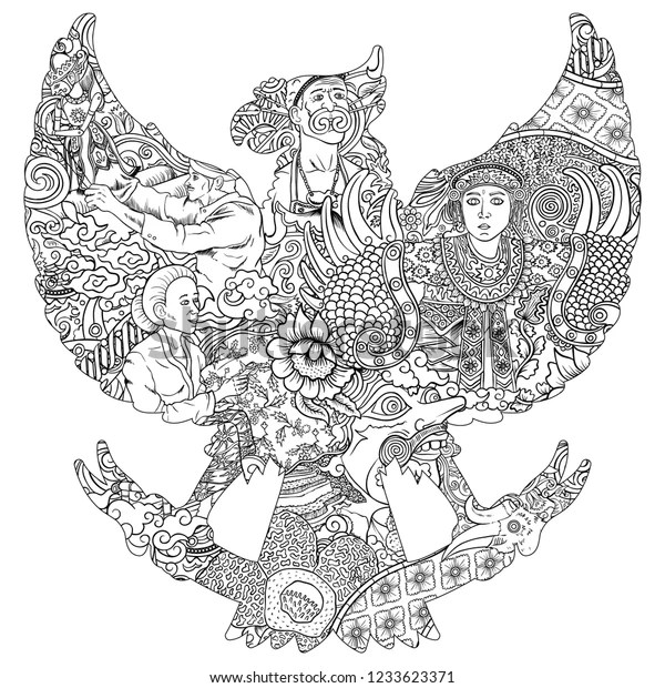 Amazing Indonesia Culture Garuda Silhouete Black Stock Vector Royalty Free 1233623371