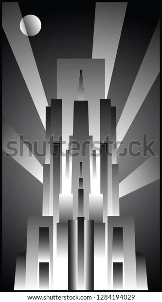 Vektor Stok Art Deco Architecture 1920s Poster Style Tanpa Royalti 1284194029