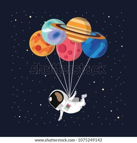 Astronaut Balloon Vector Vector de stock libre de