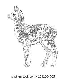 Llama Colouring Images Stock Photos Vectors Shutterstock