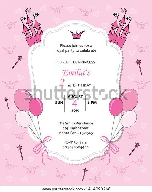 https www shutterstock com image vector baby girl royal birthday invitation balloons 1414090268
