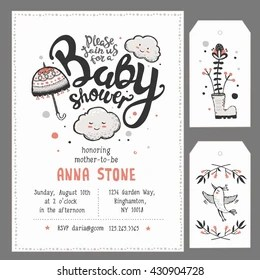 https www shutterstock com image vector baby shower invitation template hand lettering 430904728