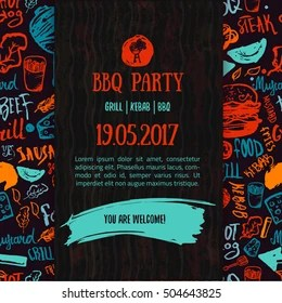 https www shutterstock com image vector bbq opening party announcement doodle handdrawn 504643825